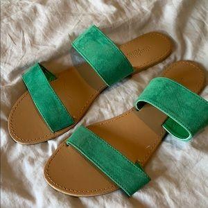 green strap sandals